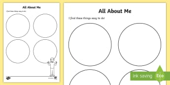 Things I Find Easy Activity Sheet - SPHE, RSE, self esteem, relationship and sexuality education, myself, me, all about me,Irish