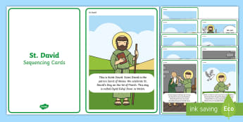 St David Story Sequencing Cards - Dewi Sant, St David's Day, Welsh celebration, st david, dewi sant, dewi, sequencing cards, curricul