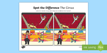 The Circus Spot the Differences Activity Sheet - oral language, speech, talking, language, circus, english, worksheet