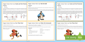 Rugby: Contact Warm Up Cards - Rugby, KS3, Warm up, contact, independent