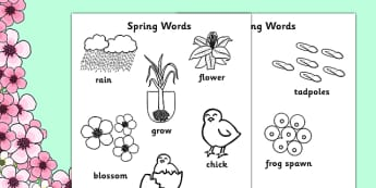 Springtime Words Colouring Sheets - springtime, seasons, colour, weather