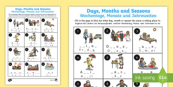Days Months and Seasons Missing Letters Activity Sheet English/German - Days Months and Seasons Missing Letters Worksheet - months, days, EAL, German,German-translation