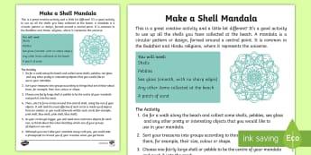 Make a Shell Mandala Activity Sheet - beach, seaside, holidays, art, creativity, family, Worksheet