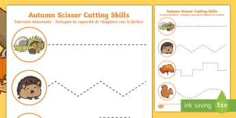 Autumn Themed Cutting Skills Activity Sheet English/Italian - Autumn Themed Cutting Skills Worksheet - fine motor skill, season, autmn, autunm, atumn, finemotor,