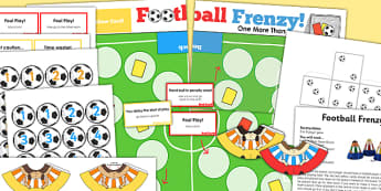 One More Than EYFS Football Board Game - maths, games, world cup
