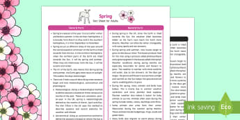 Spring Fact Sheet for Adults - EYFS, Early Years, KS1, Key Stage 1, seasons, baby animals, April showers, Easter