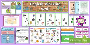 English Working Wall - 1st/2nd - Display Pack - english, literacy, phonics, spelling, writing, display wall,Irish