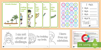 Growth Mindset CfE Early Level Resource Pack - challenge, wroxam primary school, learning without limits, fixed, growth, resources, curriculum for