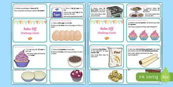 KS1 Bake Off Maths Challenge Cards