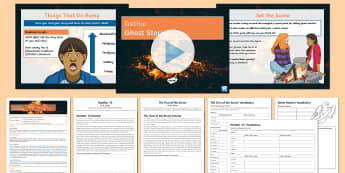 Secondary English KS3 Gothic Ghost Stories Lesson Pack - Gothic, frankenstein, jekyll, hyde, poe, shelley, the turn of the screw, number 13, henry james, m r