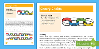 Cheery Chains Activity - Vocabulary, Literacy, words, association, associated, paper, crayons, tape, learn, senior special ed