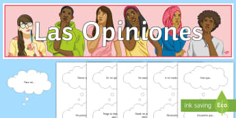 Stating Opinions Display Pack Spanish - classroom, organisation, cut, outs, decoration, points, view
