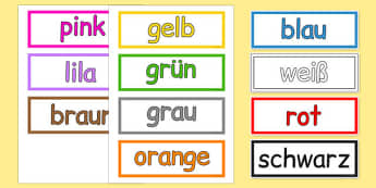 Colours Vocabulary Cards German - german, colours, vocabulary, cards