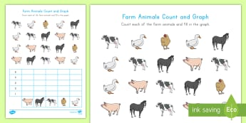 Farm Animals Count and Graph Activity Sheet - Early Childhood Animals, Animals, Pre-K Animals, K4 Animals, 4K Animals, Preschool Animals, Farm Ani