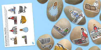 At the Supermarket Shopping Themed Story Stones Image Cut Outs - Story stones, stone art, painted rocks,  storytelling, shops, everyday life
