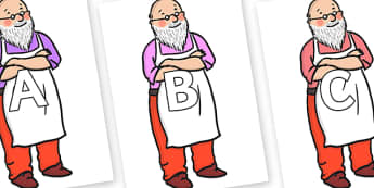A-Z Alphabet on Mr Clause to Support Teaching on The Jolly Christmas Postman - A-Z, A4, display, Alphabet frieze, Display letters, Letter posters, A-Z letters, Alphabet flashcards