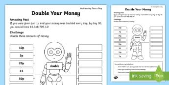 Double Your Money Activity Sheet - Amazing Fact Of The Day, activity sheets, powerpoint, starter, double, Worksheet, half, halve, amazi