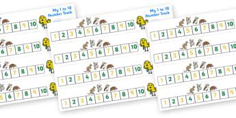 Australian Animal Number Track (1-10) - Maths, Math, number track, australian animals, numbertrack, Counting, Numberline, Number line, Counting on, Counting back