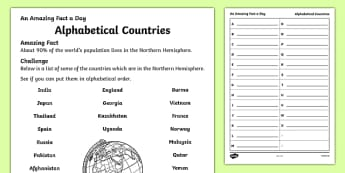 Alphabetical Countries Activity Sheet, worksheet