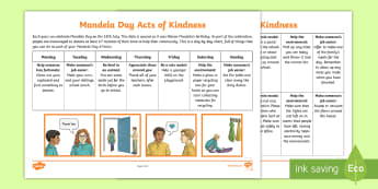 Mandela Day Acts of Kindness Activity - Mandela, Mandela Day, Nelson Mandela, Kindness, ideas, PSW, 67 min