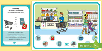 Shopping Can You Find...? Poster and Prompt Card Pack - shops, supermarket, poster, finding, trolley