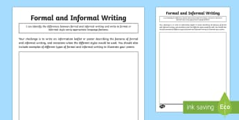 Formal and Informal Writing Application Activity-Australia - Language for interaction, social contexts, ,Australia, formal and informal language. vocabulary