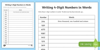 Place Value Writing 4-Digit Numbers in Words. Activity Sheet-Scottish, worksheet