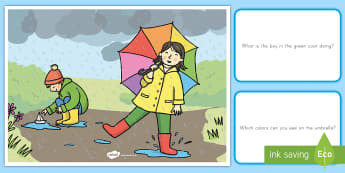Weather Scene and Question Cards - Weather, scene and question cards, rainy weather, spring, seasons, earth, earthy science, sky