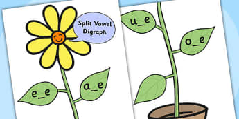 Split Vowel Cur-Out Diagraph Display Flower - vowels, vowel worksheet, split vowels, themed vowel worksheet, flower worksheet, vowel game, vowel puzzle, game