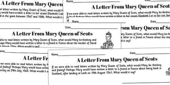 A Letter From Mary Queen of Scots Writing Frames - mary, scots