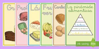 Póster DIN A4: El pirámide alimenticio - comer sano, comida sana, comer saludable, comida saludable, fruta, verdura, dieta saludable, dieta s