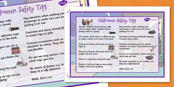 Halloween Safety Tips Poster - halloween, safety tips, poster, display, safety, tips, early years, eyfs