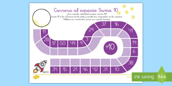 Ficha de actividad: Carrera al espacio - Sumar 10 - sumar, sumas, adición, 10, diez, añadir, carrera, ficha, juego, competición, tabla, mates, matem