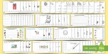 Erstes Schreiben: Schwungübungen, Buchstaben und Zahlen nachspuren Materialien-Bündel  - Arabisch, schreiben lernen, erstes Schreiben, nachschreiben, nachspuren, abschreiben, Schreibschrift