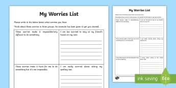 My Worries List Activity Sheet - young people, PSHCE, transition, anxiety, low mood,Worksheet