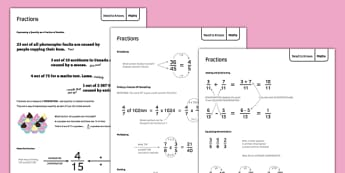 Maths Need To Knows Fractions - Maths, KS3, fractions, decimals, percentages, ratio, converting, revision, display, independent learning, project