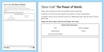 Power of Words Activity Sheet to Support Teaching on 'Stone Cold' by Robert Swindells - Robert Swindells, Homeless, Persuasive language, Writing to Persuade, Slogans