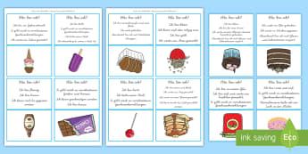 Was bin ich? Süße Lebensmittel Ratespiel: DIN A4 Karteikarten - logisches Denken, Schlussfolgern, Schlüsse ziehen, Essen, Vokabular, ,German