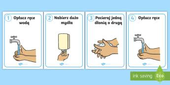 Plakaty Instrukcja mycia rąk - ręce, rąk, dłonie, dłoni, woda, higiena, instrukcje, dłoń, mycie, umyć, higieny, łazienka, z