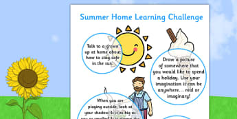 EYFS Summer Home Learning Challenge Sheet Nursery FS1 - eyfs, summer, home learning