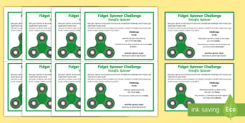 Fidget Spinner Thinking Skills Challenge Cards English/Spanish  - think, blooms taxonomy, brain, game, speaking, icebreakers, creative, EAL, imagination, creativity,