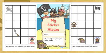 Sticker Reward Album (Pirate Themed) - reward sticker album, pirate themed, reward, sticker, album, stickers, award, chart, sticker album, complete, pirates, theme, pirate, themed
