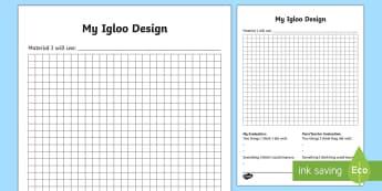 KS1 Igloo Design Activity Sheet - igloo, igloos, homes, house, shelter, snow house, snow hut, Inuit, Inuk, Eskimos, snow, ice, The Arc