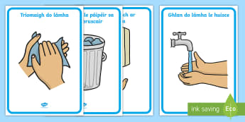 How to Wash Your Hands Display Posters Gaeilge - Gaeilge, Irish, Mé Féin, myself, classroom signs, seomra ranga