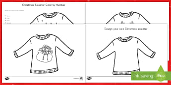 Christmas Sweater Activity Pack - Christmas, sweater, color, design, activity, pack