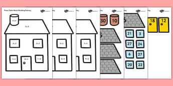 3 Times Table Active Picture Building Activity House - maths, fun, build, make, calculate, calculation, times, table, multiplications, three, 3x, sheet, work, extra, extension, times table, times tables