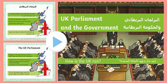 UK Parliament and the Government: How Is the Country Run? PowerPoint Arabic/English - EAL parliament, government, constitutional monarchy, the Queen, prime minister, UK politics, politic