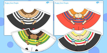 Rugby Cone Characters - rugby, cone, characters, craft, activity