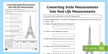 Converting scale measurements into real life measurements 3 Activity Sheet - Design it - Build it!, worksheet, scale drawings, scale, measure