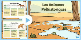 Powerpoint : Les animaux préhistoriques - préhistoire, prehistory, animaux préhistoriques, prehistoric beasts, mammouth, cycle 2, KS1, cycle